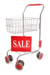 shopping trolley with sale sign