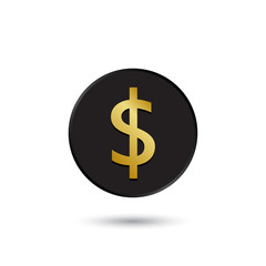 Simple gold on black dollar icon
