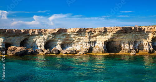 Leinwanddruck Bild sea caves at Cape Greco, Cyprus