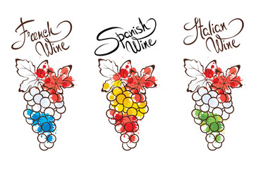 Collection illustration -- wine from France, Italy and Spain