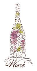 Abstract vector illustration -- wine bottle
