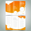 brochure design template orange white curves color - 77872155