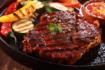 Grilled Steak on Cast Iron Pan with Vegetables