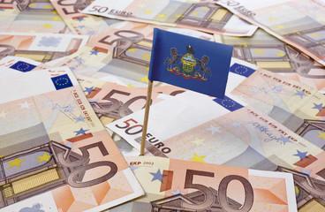 Flag of Pennsylvania sticking in 50 Euro banknotes.(series)