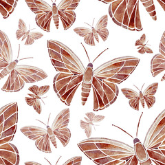 watercolor, butterfly, red, brown, pattern, wallpaper