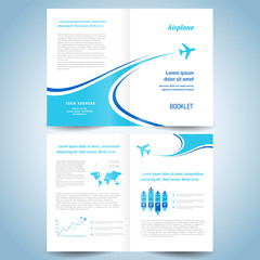 brochure design template - booklet catalog airplane flight line