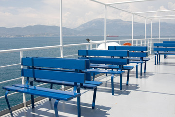 Free seat on the deck of the ferry, Greece