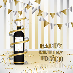 Happy birthday. Background with bottle of wine and ribbons