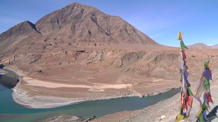Confluence of Zanskar River With Indus River In Ladakh, India
