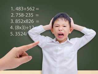 Young Asian student getting crazy with maths calculation studyin