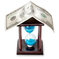 hourglass and money