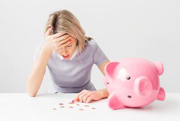 Woman having financial / money problems