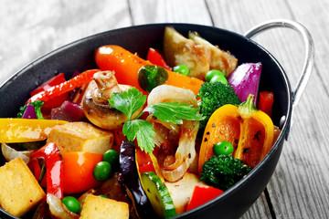 Gourmet Healthy Main Dish on Black Cooking Pan