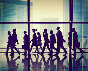 Silhouette Group of Business People Walking Concept