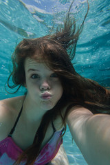 Girl Underwater Self Portrait