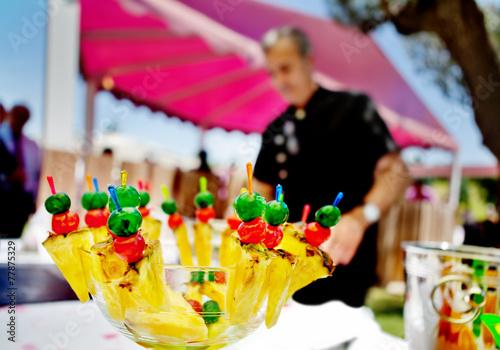 Aluminium Boord Catering al aire libre. Eventos comida y celebraciones.Fruta