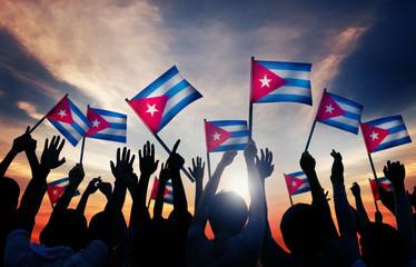 Silhouettes People Holding Flag Cuba Celebration Concept