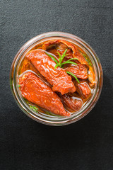 Sun Dried Tomatoes with Rosemary, Thyme and Olive Oil in a  Jar