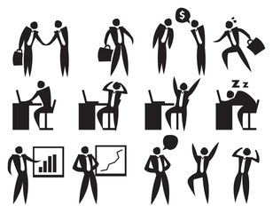 Life of Office Employee Vector Icon Set