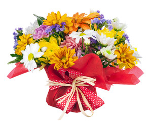 Bouquet of gerbera, carnations and other flowers isolated on whi