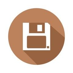 Icono diskette marrón botón sombra