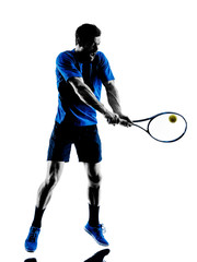man silhouette playing tennis player