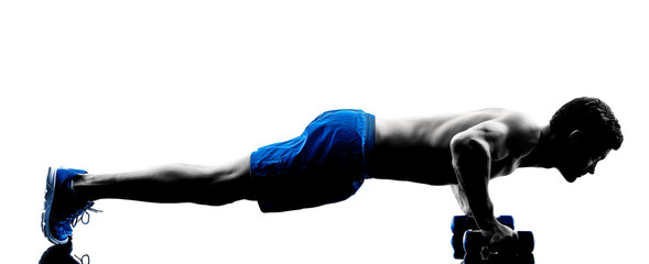 man exercising fitness push ups weights exercises silhouette