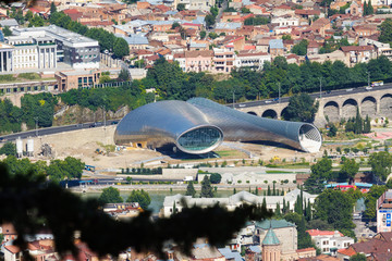 Panorama of concert hall and the presidential palace. Tbilisi