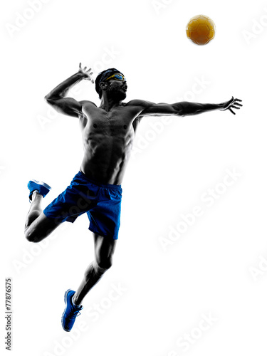 man playing beach volley silhouette