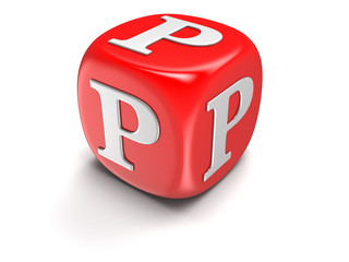 Dice with letter P (clipping path included)