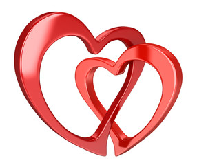 Two bound hearts (clipping path included)