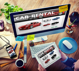Car Rental Transportation Logistics Selection Working Concept