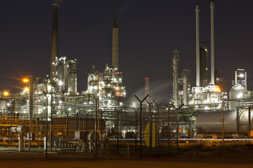 Chemical refinery by night