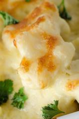 Cauliflower Cheese with Garnish - Close Up