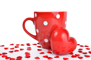 Red mug and heart . Valentines day.