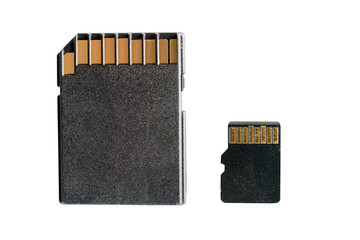SD and micro SD cards isolated on white background
