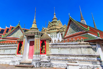 Pagoda at Wat Pho in Bangkok of Thailand