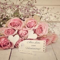 Alles Liebe zum Valentinstag! - Rosenstrauß nostalgisch