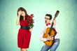 Leinwanddruck Bild - Funny Valentine's Day, series of different approaching acts