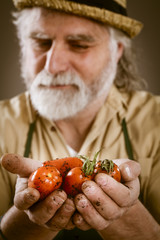 farmer shows his biological vegetables