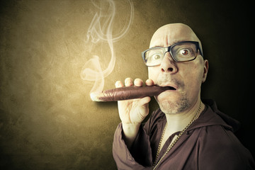 hidden priest smoking big sigar