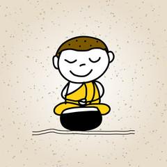 hand drawing cartoon buddhist