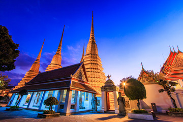 Pagoda in the sunset at Wat Pho in Bangkok of Thaila