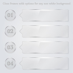 Transparent glass frames with option numbers