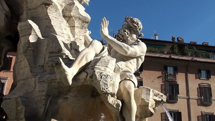 Fountain of the Four Rivers. God of the Danube. Rome
