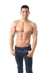 young sexy macho man naked torso and six pack cool abdomen