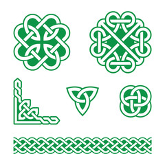 Celtic knots green patterns - vector