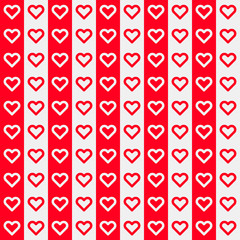 Red Abstract Background with Heart Signs
