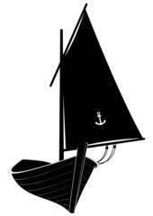 Barque en bois avec sa voile - ombre noire