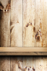 wooden shelf and wall